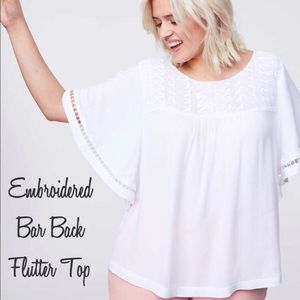 🆕 NWOT LOFT Embroidered Bar Back Top - Size 16